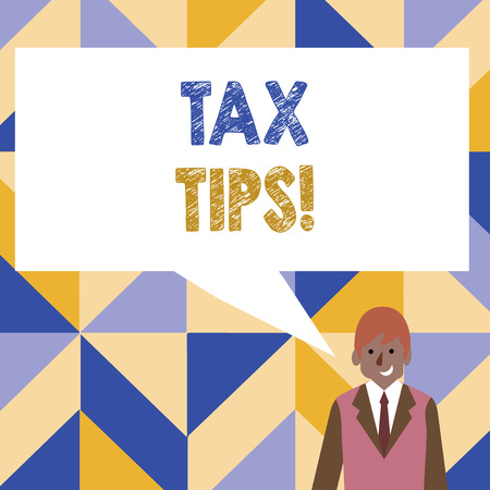 Word writing text Tax Tips. Business photo showcasing compulsory contribution to state revenue levied by government Businessman Smiling and Talking with Blank Rectangular Color Speech Bubble Stockfoto