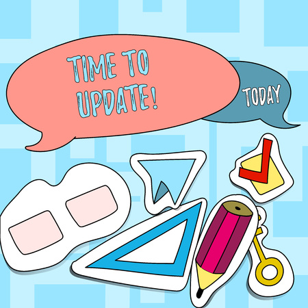 Text sign showing Time To Update. Business photo text Renewal Updating Changes needed Renovation Modernization Two Blank Colorful Speech Balloon and Different Labels Sticker Style Icons