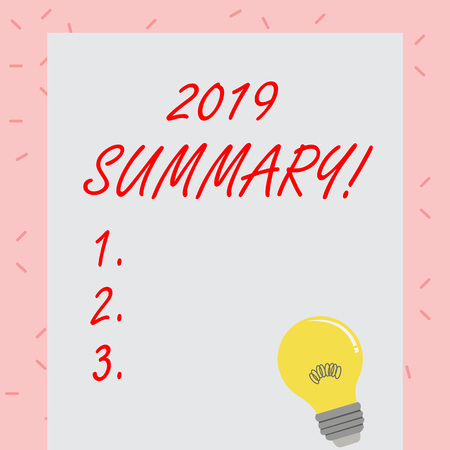 Text sign showing 2019 Summary. Business photo showcasing summarizing past year events main actions or good shows Incandescent Light Bulb with Filament Inside Resting on Blank Color Paper Stock fotó