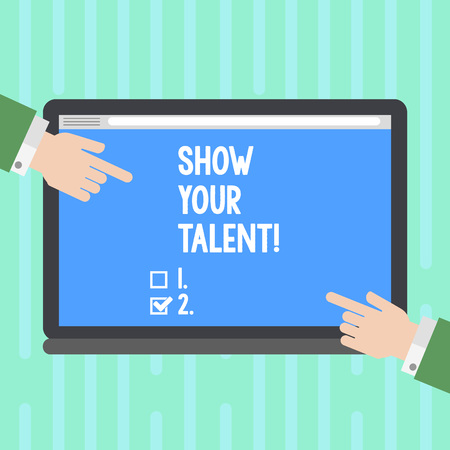 Word writing text Show Your Talent. Business photo showcasing invitation someone to show what he is skilled or good at Hu analysis Hands from Both Sides Pointing on a Blank Color Tablet Screen