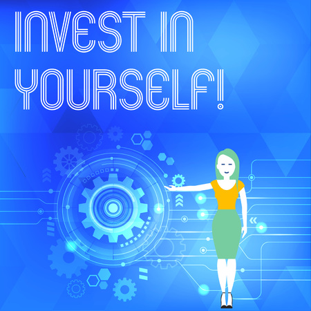Conceptual hand writing showing Invest In Yourself. Concept meaning learn new things or materials thus making your lot better Woman Presenting the SEO Process with Cog Wheel Gear inside 스톡 콘텐츠