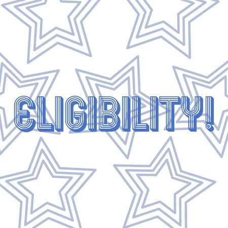 Text sign showing Eligibility. Business photo showcasing State of having the right for doing or obtain something Proper Repetition of Pentagon Star Concentric Pattern in Random on White Isolated