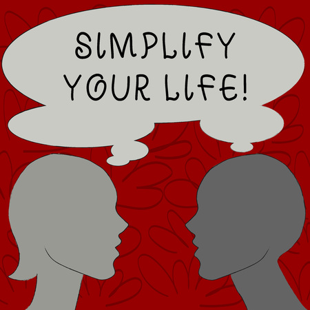 Text sign showing Simplify Your Life. Business photo text focused on important and let someone worry about less ones Silhouette Sideview Profile Image of Man and Woman with Shared Thought Bubble Imagens
