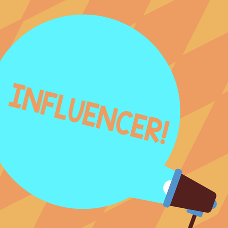Text sign showing Influencer. Business photo showcasing Person who influences and affect decisions opinions of others Blank Round Color Speech Bubble Coming Out of Megaphone for Announcement