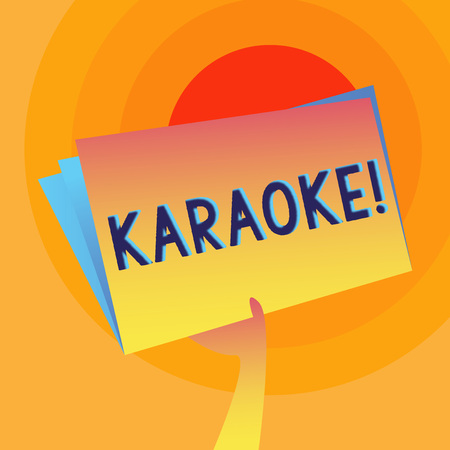 Word writing text Karaoke. Business photo showcasing Entertainment singing along instrumental music played by a machine Hand Holding and Raising Blank Space Colorful File Folder with Sheet Inside