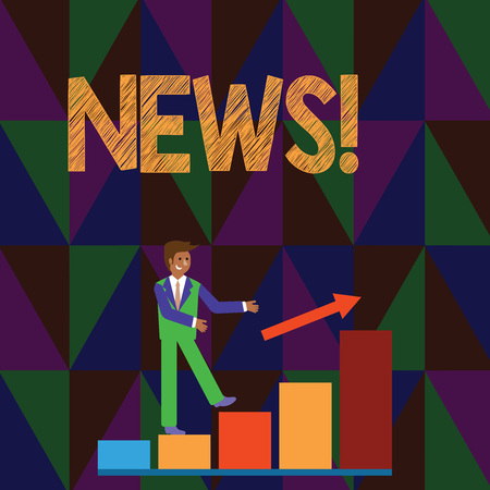 Conceptual hand writing showing News. Concept meaning Report recent events Previously unknown information Smiling Businessman Climbing Bar Chart Following an Arrow Up Stock Photo