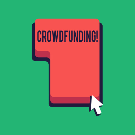 Word writing text Crowdfunding. Business photo showcasing Funding a project by raising money from large number of showing Direction to Press or Click the Red Keyboard Command Key with Arrow Cursor