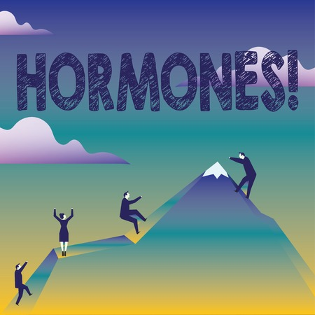 Text sign showing Hormones. Business photo text Regulatory substance produced in an organism to stimulate cells Business People Climbing Color Mountain by Themselves Holding Invisible Rope
