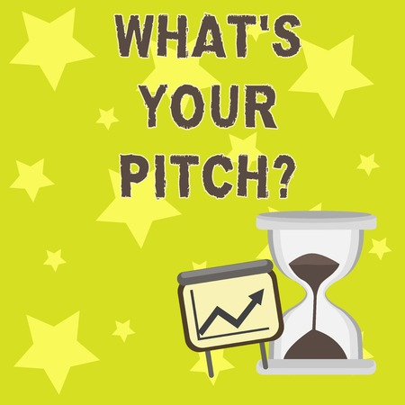 Text sign showing What S Your Pitchquestion. Business photo showcasing Present proposal Introducing Project or Product Successful Growth Chart with Arrow Going Up and Hourglass with Sand Sliding Stock fotó