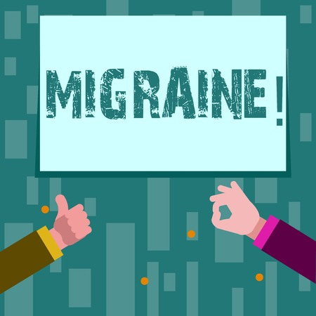 Writing note showing Migraine. Business concept for Recurrent headache in one side of head nausea and disturbed vision Two Businessmen Hands Gesturing the Thumbs Up and Okay Sign