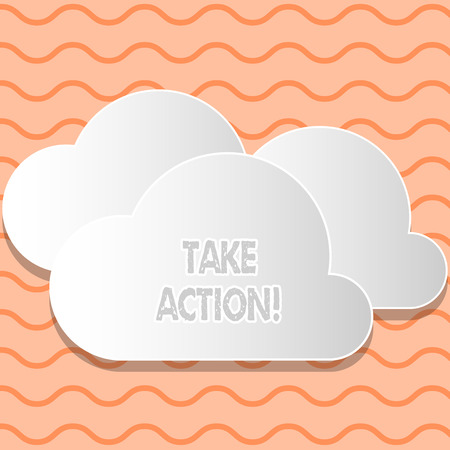 Writing note showing Take Action. Business concept for do something official or concerted to achieve aim with problem White Clouds Cut Out of Board Floating on Top of Each Other