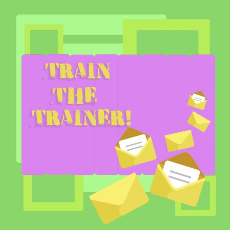 Conceptual hand writing showing Train The Trainer. Concept meaning Learning Technique Students being teachers themselves Closed and Open Envelopes with Letter on Color Stationery