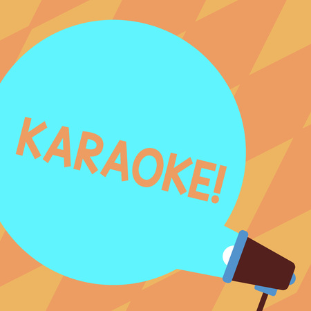 Text sign showing Karaoke. Business photo showcasing Entertainment singing along instrumental music played by a machine Blank Round Color Speech Bubble Coming Out of Megaphone for Announcement