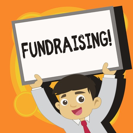 Writing note showing Fundraising. Business concept for Seeking of financial support for charity cause or enterprise Young Student Raising Upward Frame Whiteboard Above his Head 写真素材