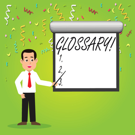 Conceptual hand writing showing Glossary. Concept meaning Alphabetical list of terms with meanings Vocabulary Descriptions Man in Necktie Holding Stick Pointing White Screen on Wall Stockfoto
