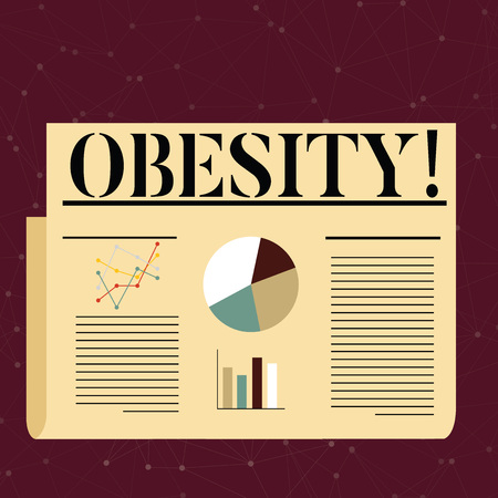 Conceptual hand writing showing Obesity. Concept meaning Medical condition Excess of body fat accumulated Health problem Colorful Layout Design Plan of Text Line, Bar and Pie Chart Фото со стока