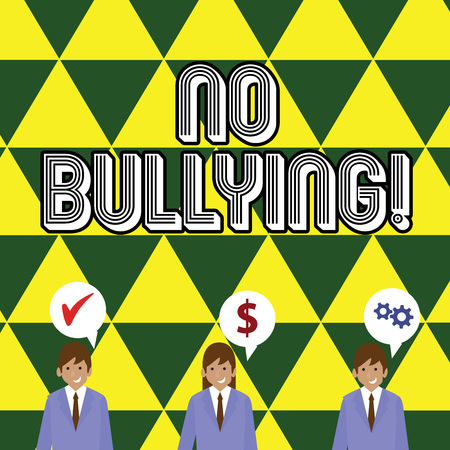 Writing note showing No Bullying. Business concept for stop aggressive behavior among children power imbalance Businessmen has Speech Bubble with Optimization Cost Icons