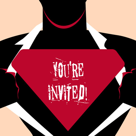 Handwriting text Youre Invited. Conceptual photo make a polite friendly request to someone go somewhere Man in Superman Pose Opening his Shirt to reveal the Blank Triangular Logo