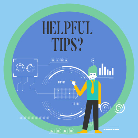 Conceptual hand writing showing Helpful Tips Question. Concept meaning secret information or advice given to be helpful knowledge Man Holding Pen Pointing to Chart Diagram SEO Process Icons