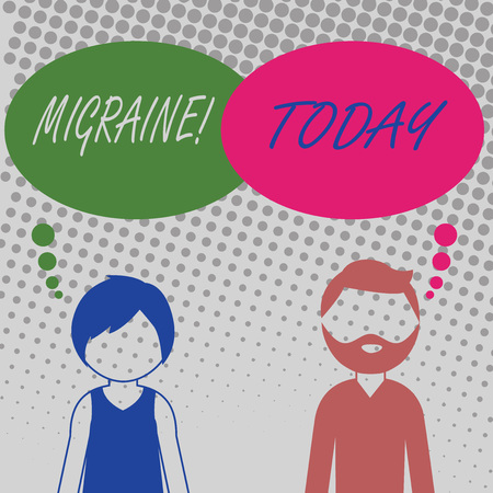 Handwriting text Migraine. Conceptual photo Recurrent headache in one side of head nausea and disturbed vision Bearded Man and Woman Faceless Profile with Blank Colorful Thought Bubble