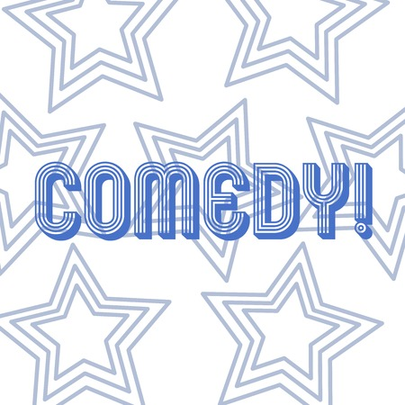 Text sign showing Comedy. Business photo showcasing Fun Humor Satire Sitcom Hilarity Joking Entertainment Laughing Repetition of Pentagon Star Concentric Pattern in Random on White Isolated