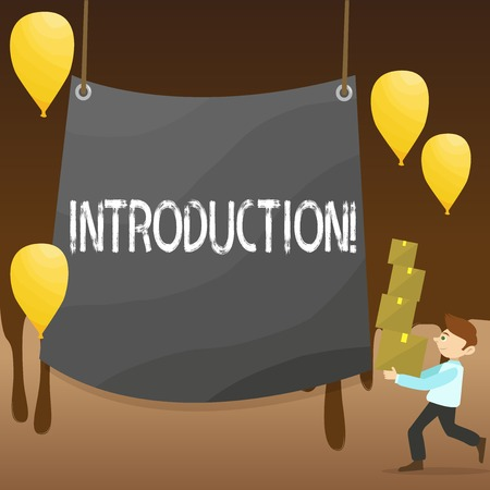 Text sign showing Introduction. Business photo showcasing First part of a document Formal presentation to an audience Man Carrying Pile of Boxes with Blank Tarpaulin in the Center and Balloons Stockfoto
