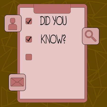 Text sign showing Did You Know . Business photo text when you are asking someone if they know fact or event Clipboard with Tick Box and 3 Apps Icons for Assessment, Updates, Reminder