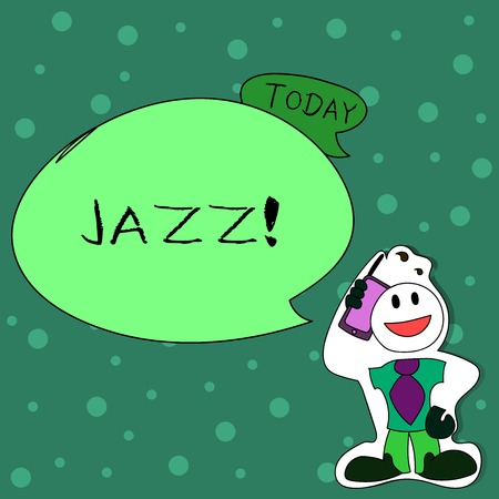 Writing note showing Jazz. Business concept for Type of music of black American origin Musical genre Strong rhythm Man in Necktie Holding Smartphone to Head in Sticker Style