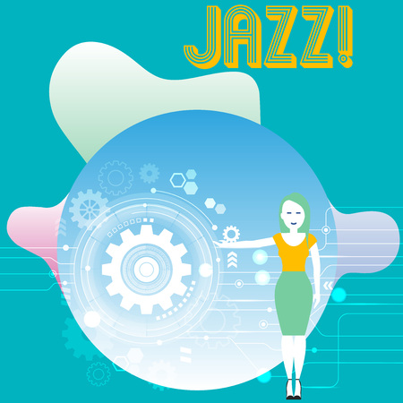 Conceptual hand writing showing Jazz. Concept meaning Type of music of black American origin Musical genre Strong rhythm Woman Presenting the SEO Process with Cog Wheel Gear inside 写真素材