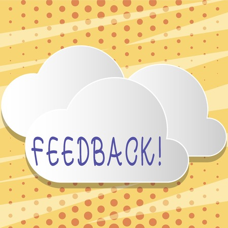 Text sign showing Feedback. Business photo showcasing Customer Review Opinion Reaction Evaluation Give a response back Blank White Fluffy Clouds Cut Out of Board Floating on Top of Each Other