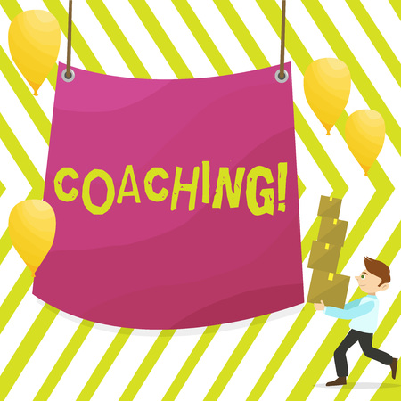 Word writing text Coaching. Business photo showcasing Prepare Enlightened Cultivate Sharpening Encourage Strenghten Man Carrying Pile of Boxes with Blank Tarpaulin in the Center and Balloons