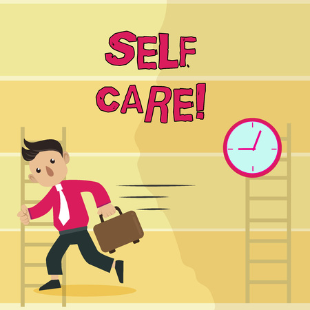 Writing note showing Self Care. Business concept for practice of taking action preserve or improve ones own health Man Carrying Briefcase Walking Past the Analog Wall Clock
