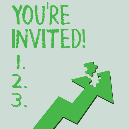 Text sign showing You'Re Invited. Business photo text make a polite friendly request to someone go somewhere Colorful Arrow Pointing Upward with Detached Part Like Jigsaw Puzzle Piece