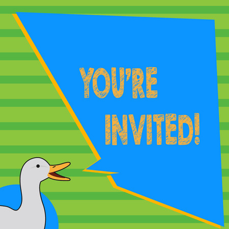 Writing note showing You'Re Invited. Business concept for make a polite friendly request to someone go somewhere photo of Duck Speaking with Uneven Shape Blank Blue Speech Balloon Stock Photo - 119050652