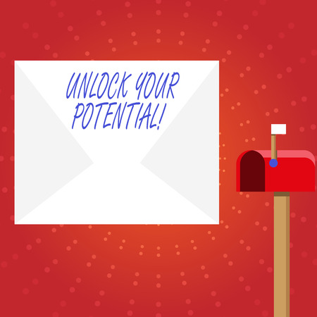 Writing note showing Unlock Your Potential. Business concept for release possibilities Education and training is key White Envelope and Red Mailbox with Small Flag Up Signalling