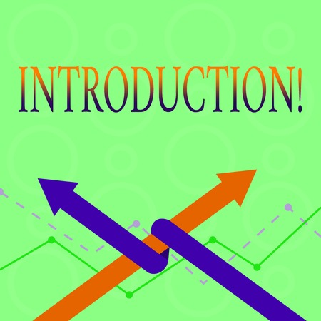 Conceptual hand writing showing Introduction. Concept meaning First part of a document Formal presentation to an audience Two Arrows One Intertwined to Other Team Up or Competition
