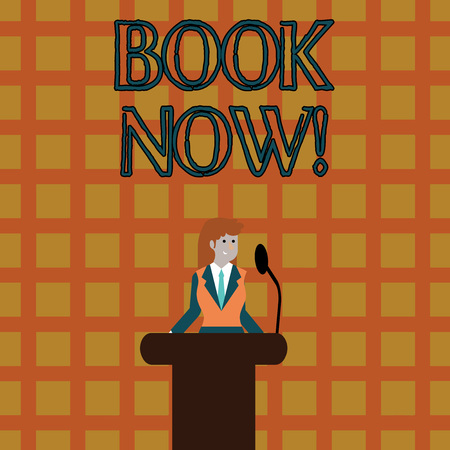 Text sign showing Book Now. Business photo text guaranteed to have place because you have already purchased it Businesswoman Standing Behind Podium Rostrum Speaking on Wireless Microphone Stock Photo