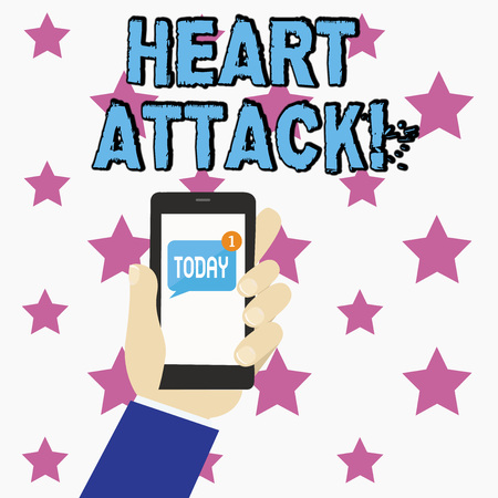 Conceptual hand writing showing Heart Attack. Concept meaning sudden occurrence of coronary thrombosis resulting in death Human Hand Holding Smartphone with Unread Message on Screen