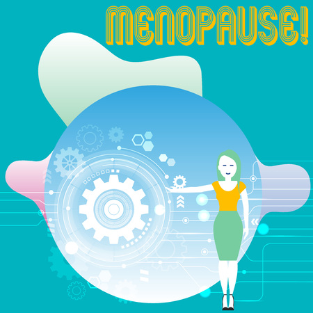 Conceptual hand writing showing Menopause. Concept meaning Cessation of menstruation Older women hormonal changes period Woman Presenting the SEO Process with Cog Wheel Gear inside