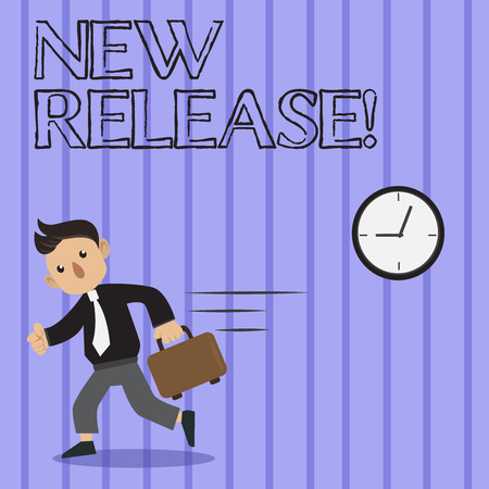 Word writing text New Release. Business photo showcasing announcing something newsworthy recent product Man in Tie Carrying Briefcase Walking in a Hurry Past the Analog Wall Clock