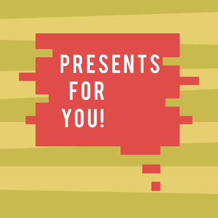 Text sign showing Presents For You. Business photo showcasing give or award formally or ceremonially out of love Blank Color Speech Bubble in Puzzle Piece Shape photo for Presentation Ads