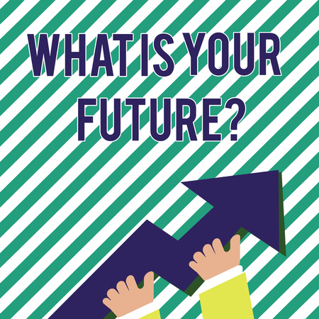 Handwriting text What Is Your Future question. Conceptual photo Where do you see yourself in the next years photo of Hand Holding Colorful Huge 3D Arrow Pointing and Going Up Foto de archivo