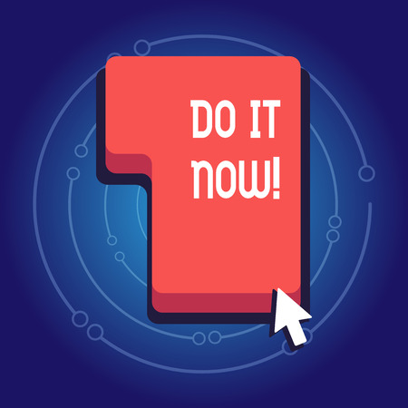 Text sign showing Do It Now. Business photo showcasing not hesitate and start working or doing stuff right away Direction to Press or Click the Red Keyboard Command Key with Arrow Cursor 免版税图像