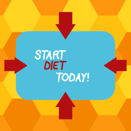 Handwriting text writing Start Diet Today. Conceptual photo special course food to which demonstrating restricts themselves Arrows on Four Sides of Blank Rectangular Shape Pointing Inward photo Banco de Imagens