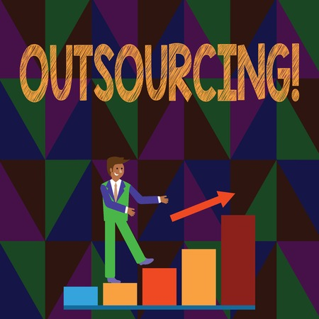 Conceptual hand writing showing Outsourcing. Concept meaning Obtain goods or service by contract from an outside supplier Smiling Businessman Climbing Bar Chart Following an Arrow Up