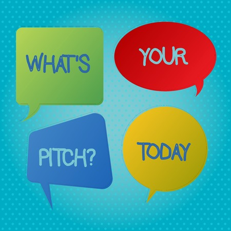 Word writing text What S Your Pitch question. Business photo showcasing Present proposal Introducing Project or Product Blank Speech Bubble Sticker in Different Shapes and Color for Multiple Chat Stock Photo