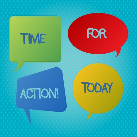 Word writing text Time For Action. Business photo showcasing Do something now for a particular purpose Act in this moment Blank Speech Bubble Sticker in Different Shapes and Color for Multiple Chat 스톡 콘텐츠