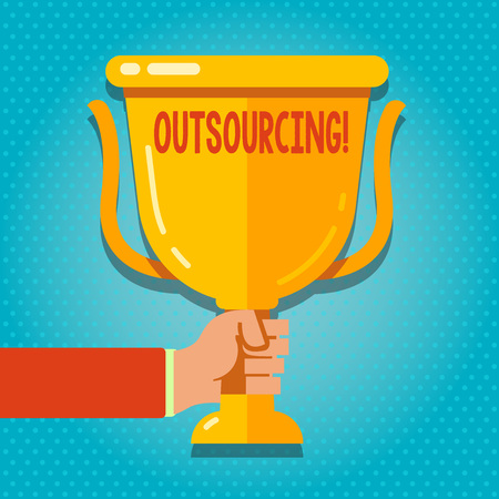 Word writing text Outsourcing. Business photo showcasing Obtain goods or service by contract from an outside supplier Hand Holding Blank Golden Championship Winners Cup Trophy with Reflection Banque d'images