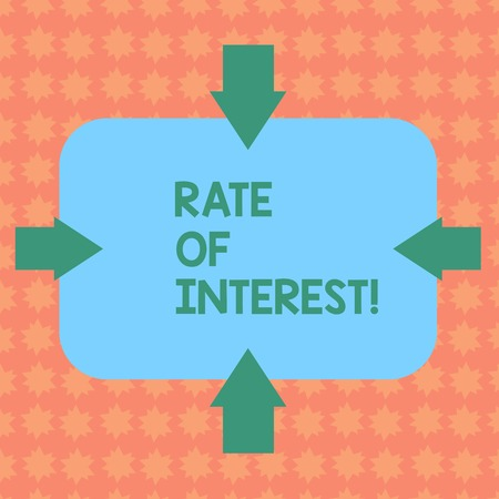 Writing note showing Rate Of Interest. Business concept for amount charged, expressed as a percentage of principal, Arrows on Four Sides of Blank Rectangular Shape Pointing Inward photo