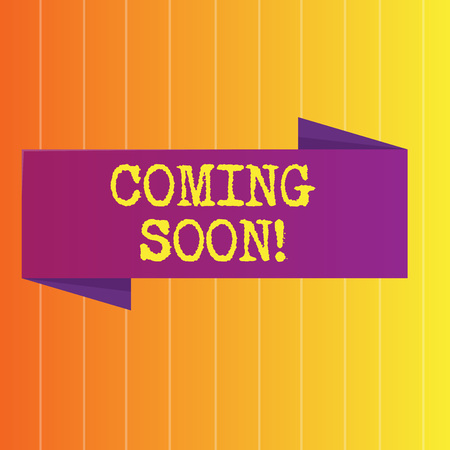 Handwriting text Coming Soon. Conceptual photo event or action that will happen after really short time Blank Folded Color Banner photo on Vertically Striped Two Toned Backdrop